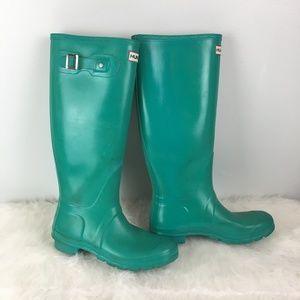 Hunter Sz 8 Teal turquoise Original tall rain boot